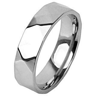 Stainless Steel Diamond-cut Faceted Band
