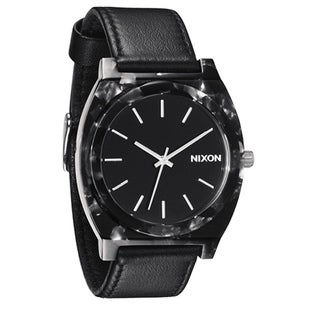 Nixon Men's 'Time Teller' Black Leather Strap Watch