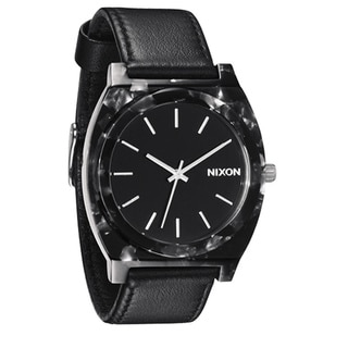 Nixon Men's 'Time Teller' Black Leather Strap Watch