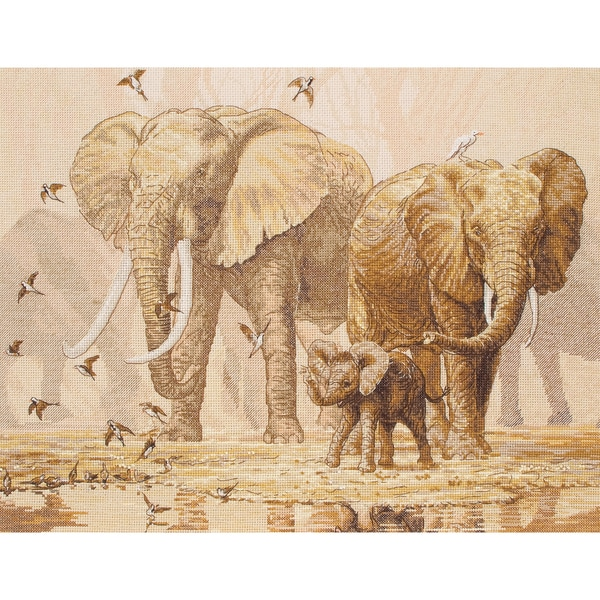 African Elephants & Namaqua Doves Counted Cross Stitch Kit-11-3/4X15-3/4in 16 Count