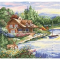Lakeside Cabin Counted Cross Stitch Kit-15X15in 14 Count