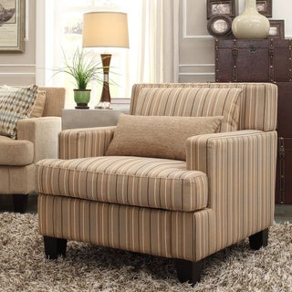 INSPIRE Q Park West Mocha Brown Stripe Arm Chair