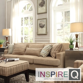 INSPIRE Q Park West Tan Chenille Track Arm Sofa
