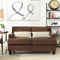 Kendrick Chocolate Chenille Track Arm Loveseat