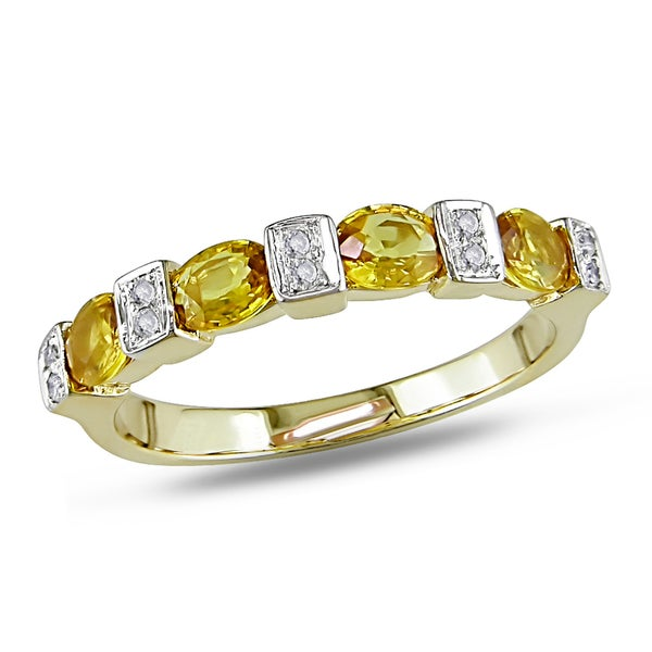 Miadora 14k Yellow Gold Yellow Sapphire and Diamond Ring