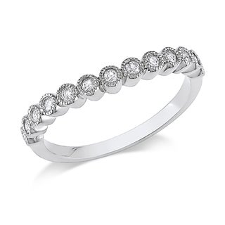 Miadora 10k White Gold 1/4ct TDW Bezel Set Diamond Band (H-I, I2-I3)