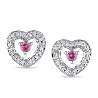 Miadora Sterling Silver 1/3ct TDW Pink and White Diamond Heart Earrings