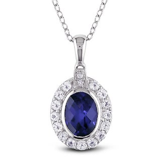 Miadora Sterling Silver White Topaz and Created Blue Sapphire Necklace