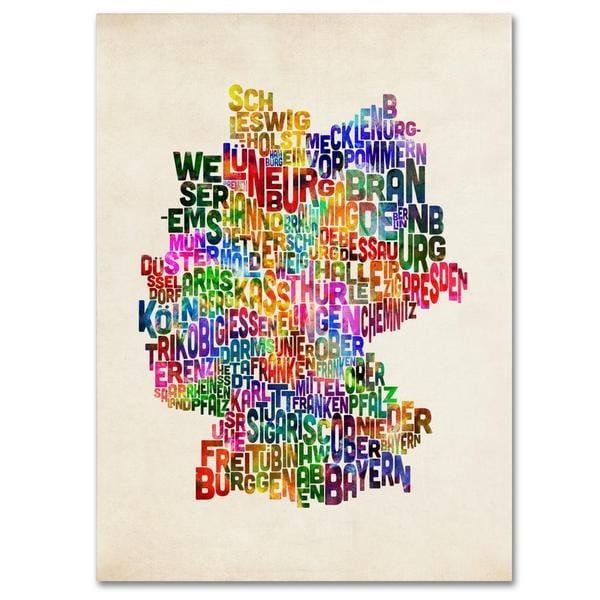 Michael Tompsett 'Germany Region Text Map 2' Canvas Art