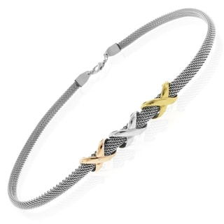 Tri-color Stainless Steel Triple 'X' Design Mesh Necklace