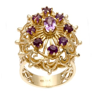 14k Yellow Gold Amethyst Lattice Design Estate Ring