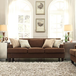 INSPIRE Q Park West Chocolate Chenille Track Arm Sofa