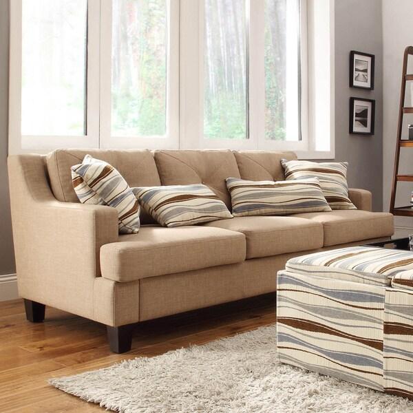 Inspire Q Middleton Camel Linen Tufted Sloped Arm Sofa