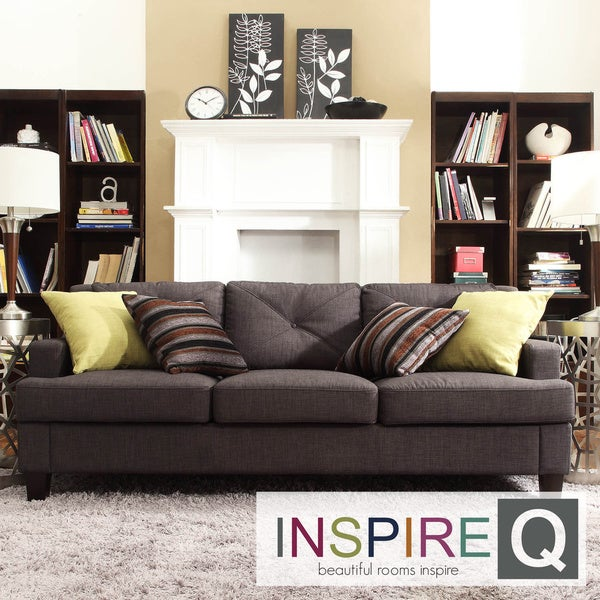 Inspire Q Middleton Collection Charcoal Linen Tufted Sloped Arm Sofa