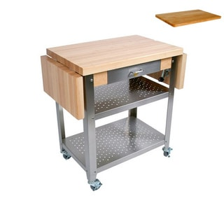 John Boos CUCE50 Cucina Elegante Drop Leaf Kitchen 50 inch x 20 inch Cart and Cutting Board.
