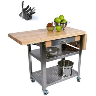 John Boos CUCE50 Cucina Elegante Drop Leaf Kitchen 50 inch x 20 inch Cart with Henckels 13 Piece Knife Block Set