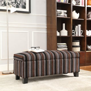 INSPIRE Q Sauganash Dark Tonal Stripe Lift Top Storage Bench