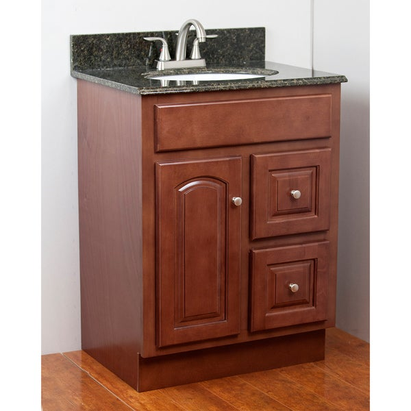 Maple Two-Drawer Granite-Top Vanity Cabinet