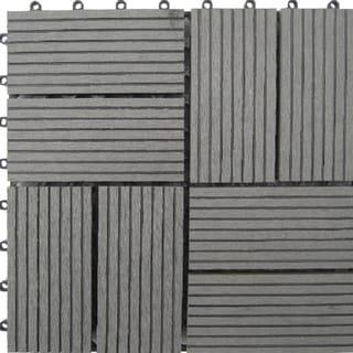 Bamboo 8-Slat Composite Deck Tiles (Set of 11)
