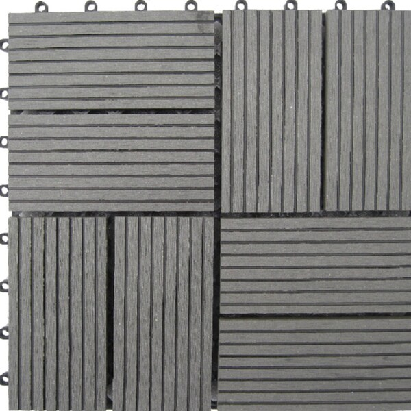 Bamboo 8-Slat Composite Deck Tiles (Set of 11)