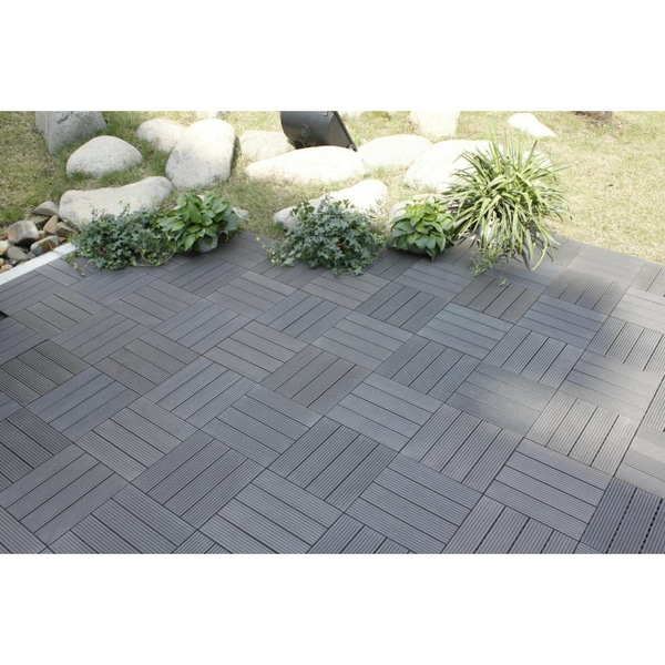 Bamboo 4 Slat Composite Deck Tiles Set of 11 15468815
