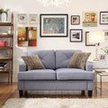 Middleton Light Blue Linen Tufted Sloped Arm Loveseat