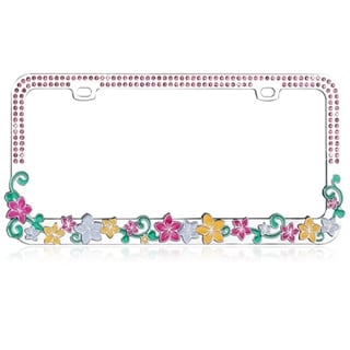 INSTEN Vibrant Hawaiian Flowers Crystals Metal License Plate Frame