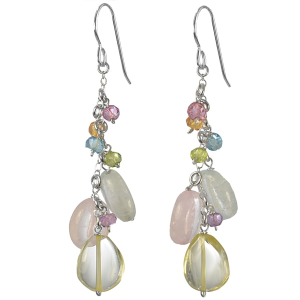 Ashanti Silver Cascading Multi Gemstone Earrings (Sri Lanka)