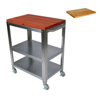 John Boos 30 in x 20 in Cucina CHY-CU-CULART30 Cherry Cart with Removable Top and Cutting Board.