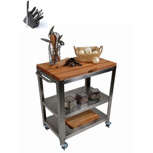 John Boos CU-CULART30 Cucina Culinarte Kitchen Cart With Henckels 13 Piece Knife Block Set