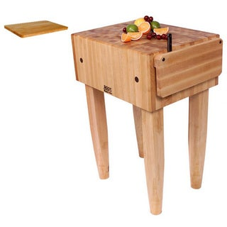 John Boos PCA3 24 inch x 24 inch Butcher Block Table with Bonus Cutting Board