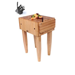 John Boos PCA3  24 inch x  24 inch Butcher Block Table with Henckels 13 Piece Knife Block Set