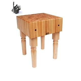 John Boos AB05 Solid Maple Butcher Block 24 x 24 x 34 Table and Henckels 13-piece Knife Block Set