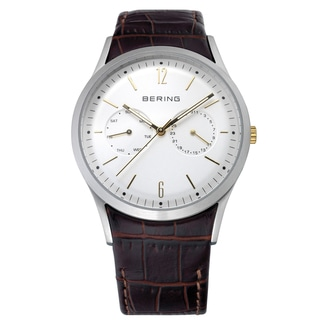 Bering Time Men's Brown Leather Strap Calendar Watch