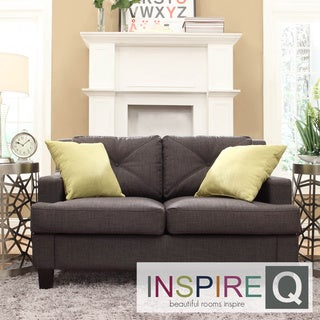Inspire Q Middleton Charcoal Linen Tufted Sloped Arm Loveseat