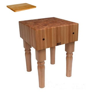 John Boos AB01 Butcher Block Table 18 inch x 18 inch and Bonus Cutting Board.