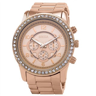 Breda Women's 'Jordan' Rose Gold-Tone Boyfriend Watch