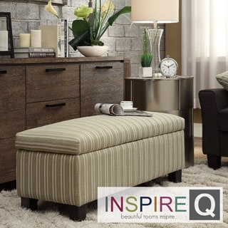 INSPIRE Q Sauganash Spring Green Stripe Lift Top Storage Bench