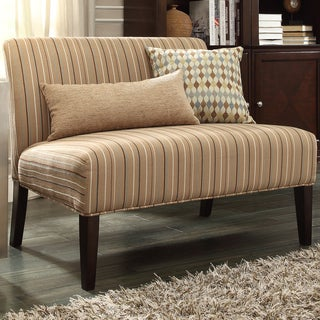 INSPIRE Q Wicker Park Mocha Brown Stripe Armless Loveseat