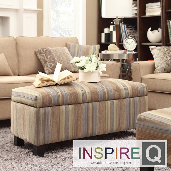 INSPIRE Q Sauganash Mocha Tonal Stripe Lift Top Storage Bench