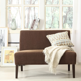 INSPIRE Q Wicker Park Chocolate Chenille Armless Loveseat