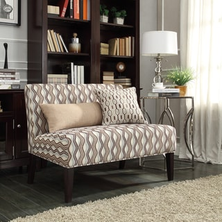 Inspire Q Kayla Primary Wavy Stripe Fabric Armless Loveseat