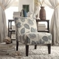 Kayla Floral Poppy Fabric Armless Lounge Chair