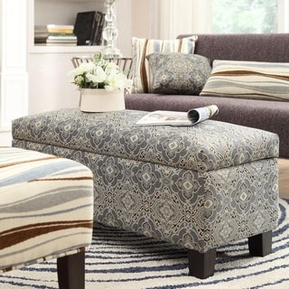 INSPIRE Q Sauganash Blue Damask Lift Top Storage Bench