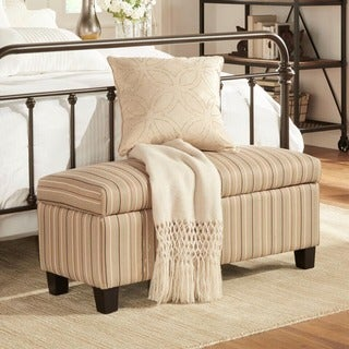 INSPIRE Q Sauganash Mocha Brown Stripe Lift Top Storage Bench