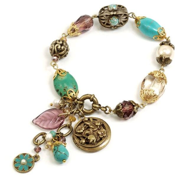 Sweet Romance Bronzetone Garden Bead Locket Bracelet