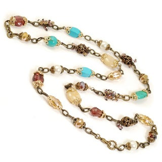 Sweet Romance Bronzetone Garden Bead Long Necklace