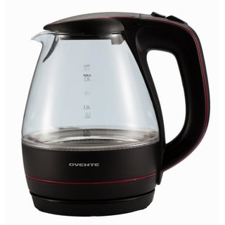 Ovente Black 1.5 Liter Glass Electric Kettle