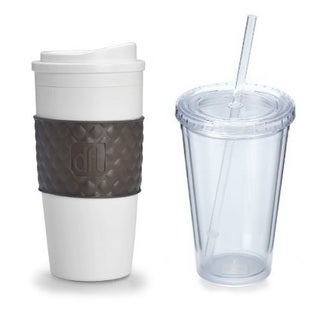Design for Living Reusable 16-ounce Coffee Mug & Iced Beverage Cup Set