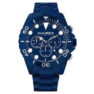 Haurex Men's 'Ink Chrono' Blue Aluminum Chronograph Watch